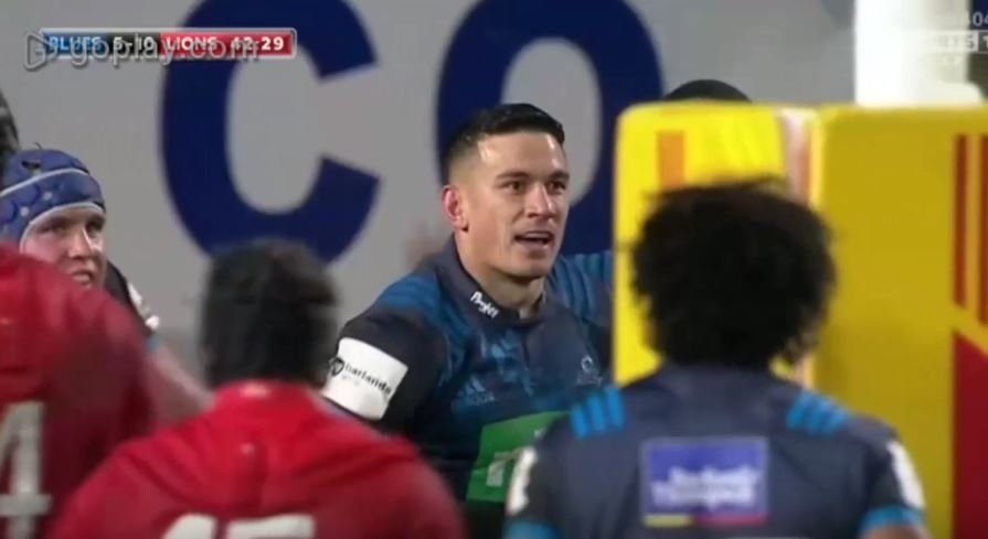 Sonny Bill Williams scores controversial try after ball hits the posts against the Lions