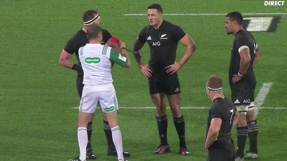 VIDEO: Sonny Bill Williams RED carded for shocking shoulder in Anthony Watson