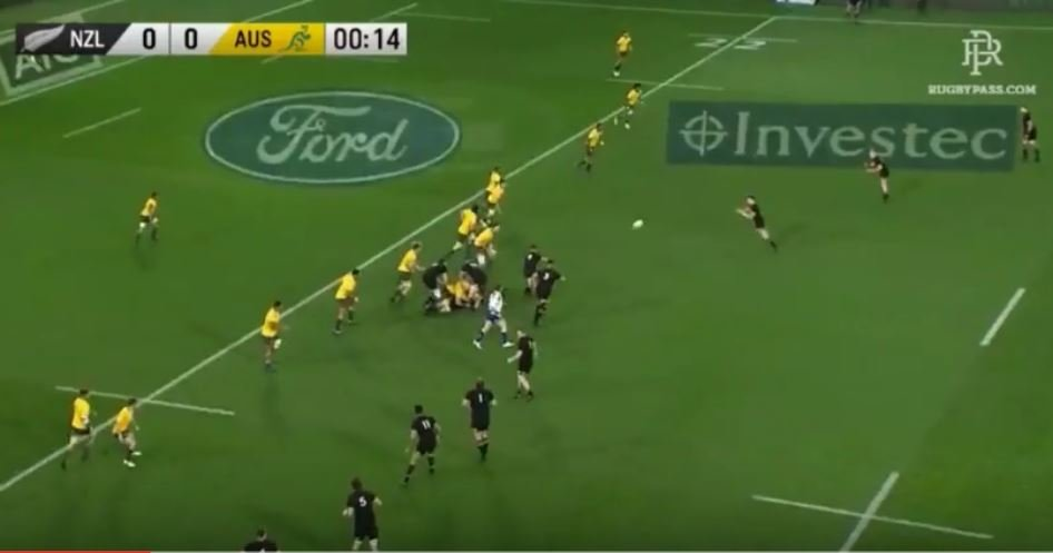 Israel Folau opens up the scoring, burning off the All Blacks