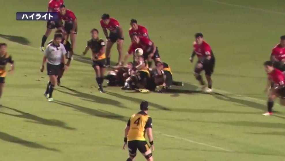 SKILLS: 6'7 former Landers' lock Joe Wheeler kicks a crossfielder in Japan