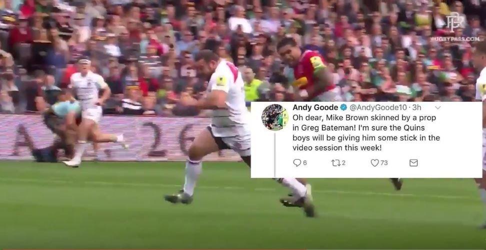 VIDEO: Prop Greg Bateman humiliates Mike Brown, Andy Goode rubs salt in the wound