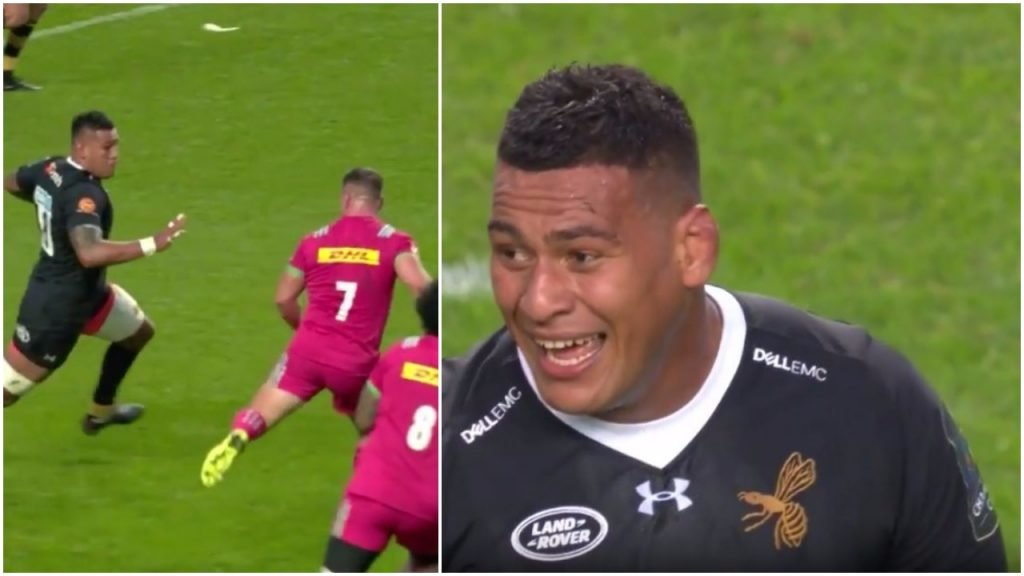 VIDEO: Nathan Hughes correctly laughs after launching Dave Ward with a GIANT fend