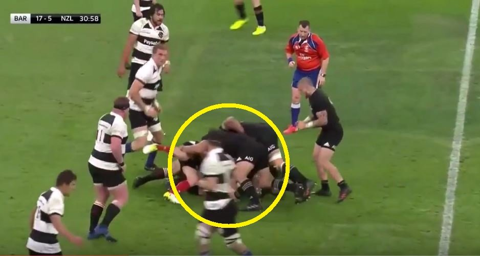 FOOTAGE: Giant All Black prop clearly punches player at the bottom of ruck