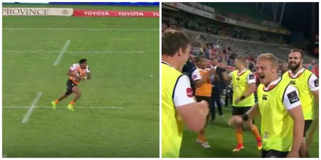 Cheetahs Craig Barry ghosts the Scarlet's defence with disgusting pace and footwork