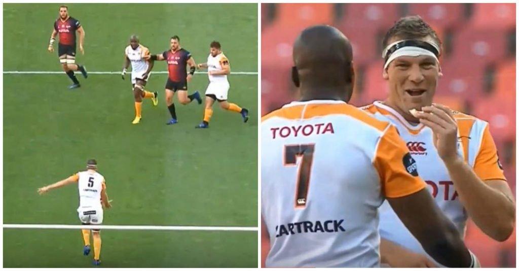 Cheetahs secondrow kicks monstrous clearance kick deep in his 22
