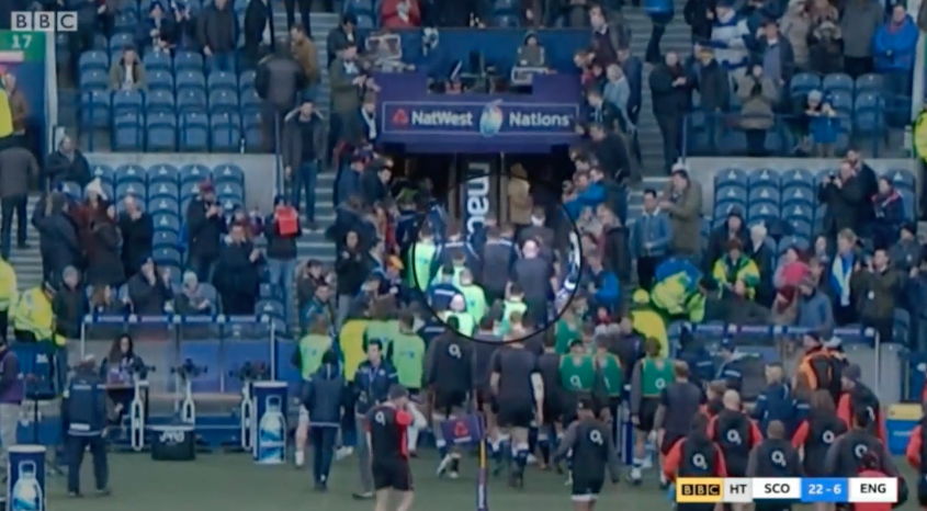 FOOTAGE: Cameras capture moment Owen Farrell takes on Scottish players in tunnel brawl