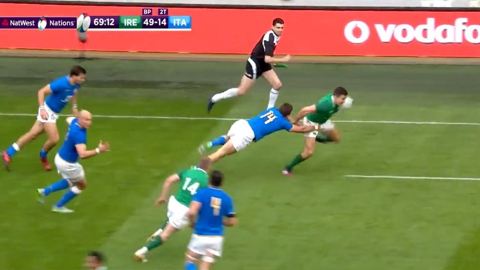 WATCH: Jacob Stockdale puts the foot down from 70 metres