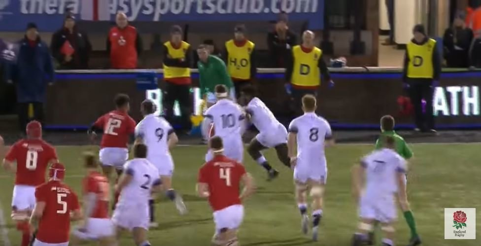 England U20s wing beats 6 defenders for ridiculous 55m try