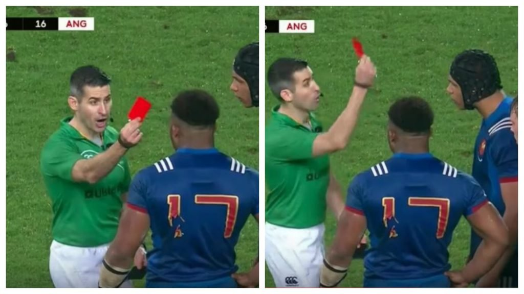 TWO French U20s player red carded for re-enacting O'Driscoll 2005 horror tackle on England player