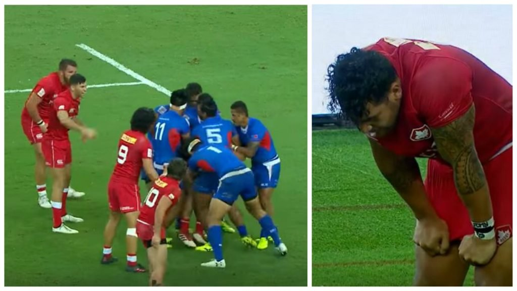 SHOCKING: Chaos in Singapore as Samoa treat Canadian 'like vagrant punter' with 7 on 1 tackle