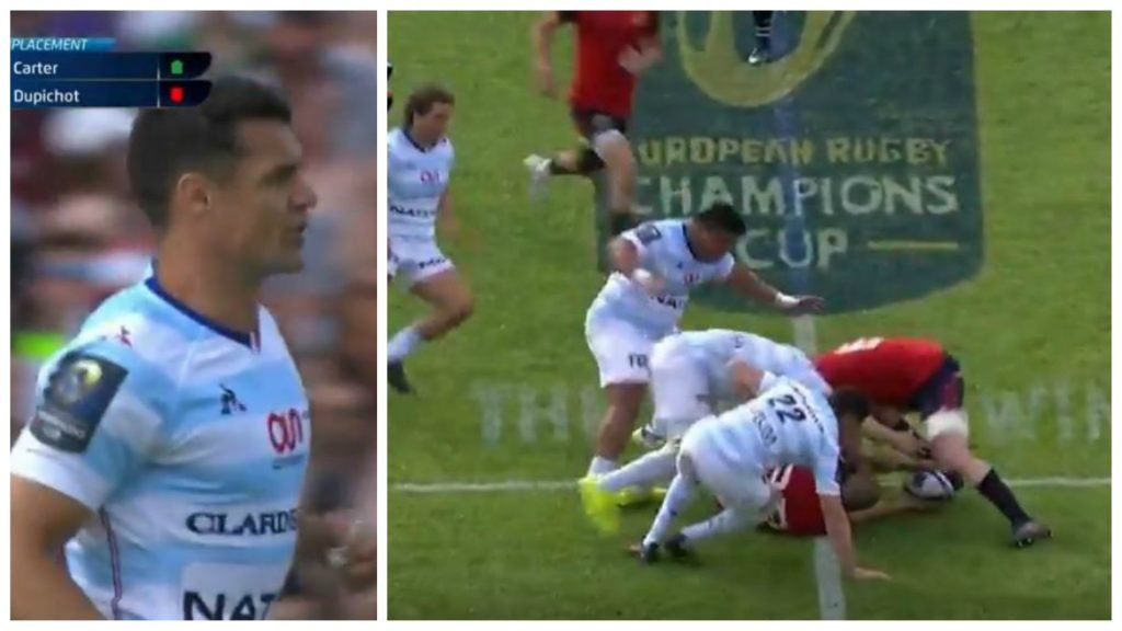 Dan Carter announces his prescence on pitch with topgallant flying tackle on Zebo