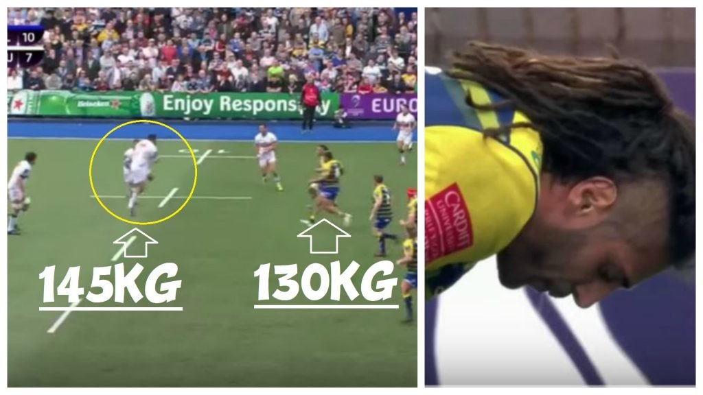FOOTAGE: Josh Navidi absorbs hit from 145kg prop and 130kg backrow simultaneously