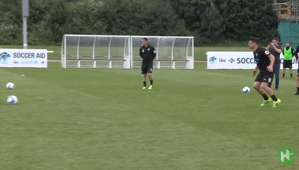 FOOTAGE: Dan Carter scores well-taken goal in training for Soccer Aid