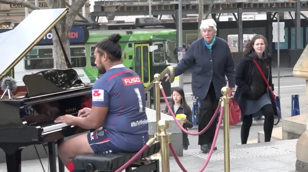 MASTER RACE: Melbourne Rebels prop wows bystanders with his musical mastery