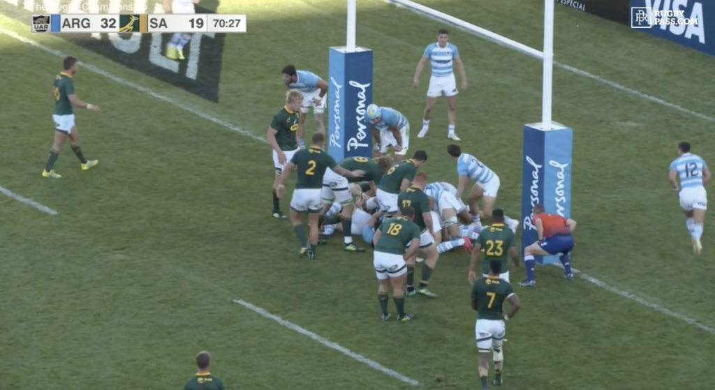 WATCH: Free-flowing  Argentina go full Hail Mary after player steps 4 South Africans from behind try line