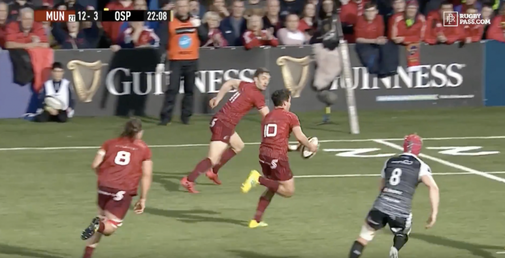 WATCH: Joey Carbery has Munster fans excited after scoring a scintillating try on debut