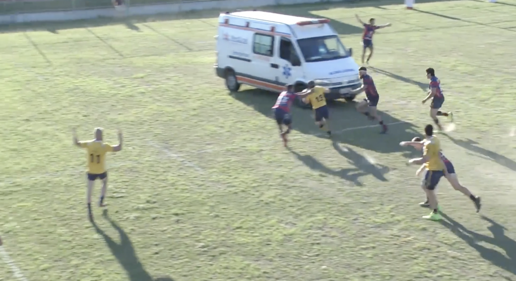 WATCH: Bizarre moment an ambulance enters the pitch WAY too early