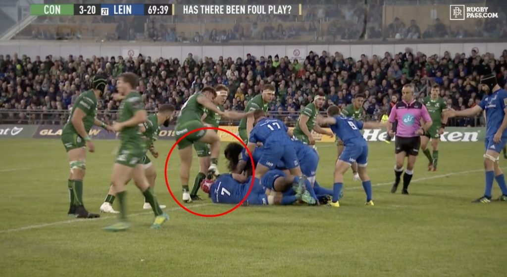 FOOTAGE: Sickening moment Connacht player stamps on the head of Josh van der Flier