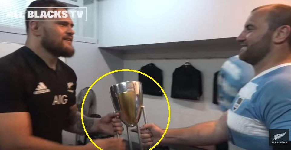 Watch the unsporting moment All Black stops Puma from holding RC trophy