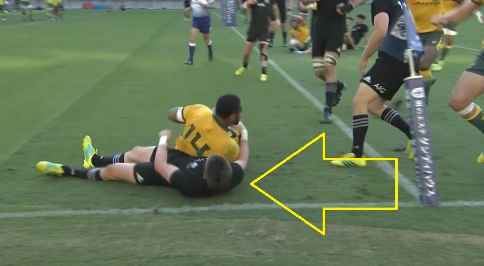 FOOTAGE: Barrett plays dead to avoid shame after getting rag-dolled by Wallaby