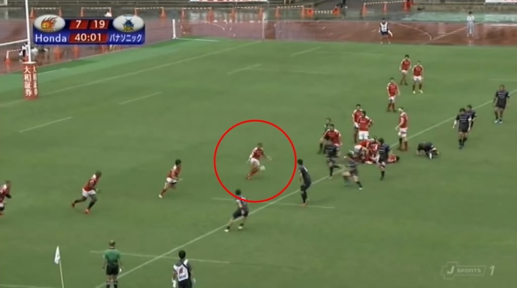 WATCH: Japanese full back's half-volley completely RUINS his mere mortal opponents