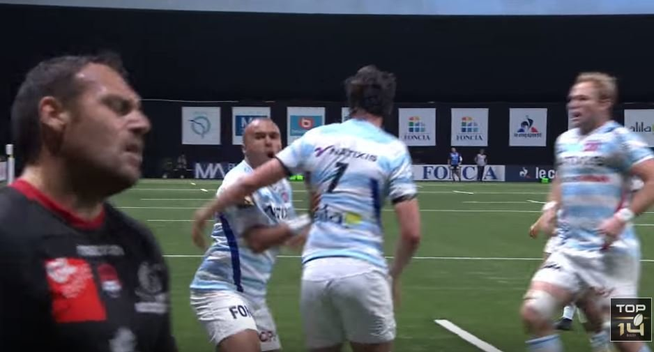 FOOTAGE: Zebo pumped reaction to scoring POWER try for Racing 92