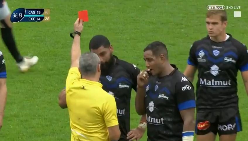 FOOTAGE: Castres player given legit red card for actual horror war hit