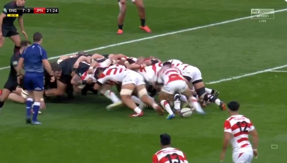 FOOTAGE: John Mitchell's England defence easily cut open off first phase ball by Japan