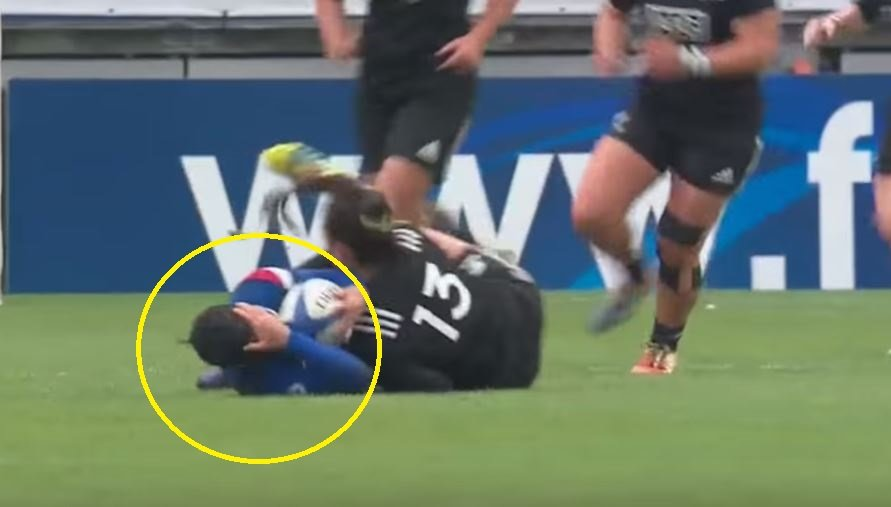 LEAKED: Massive controversy as female All Blacks team repeatedly hit French with head high horror hits