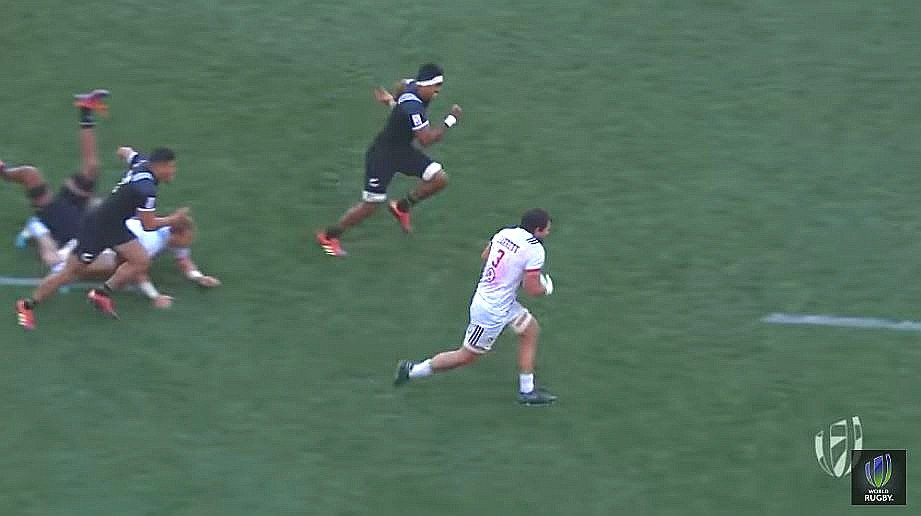 WATCH: Danny Barrett turns two All Blacks into 'road kill'