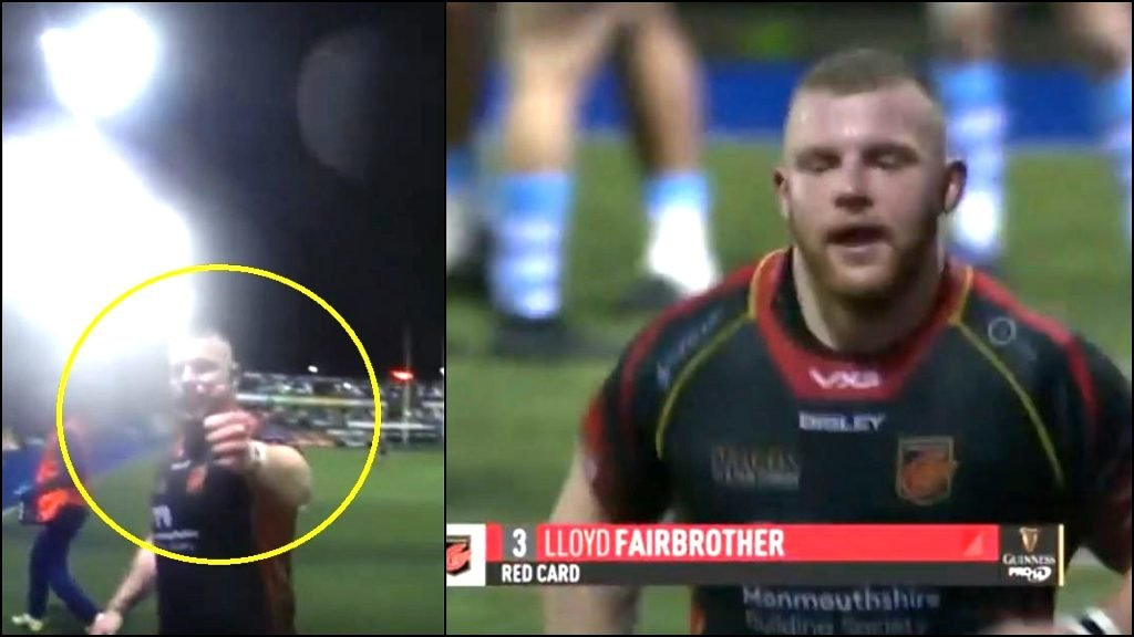 FOOTAGE: Dragons prop red carded for some tigthhead on tighthead violence