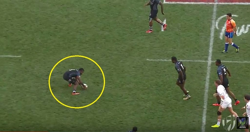 VIDEO: Fiji's Jerry Tuawei hits England's Mitchell with an ankle breaker in Cape Town