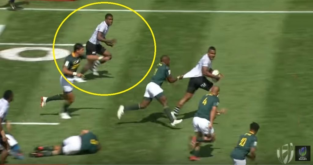 VIDEO: Fiji's Tuimba turns South African defender into speed bump