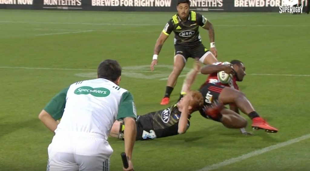 WATCH: Fijian wing Mataele makes freak tentacle offload for Crusaders try
