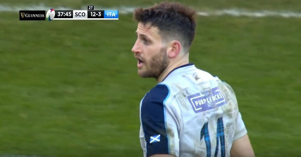 FOOTAGE: Tommy Seymour executes perfect 'bag and tag' tackle on Campagnaro, forcing turnover