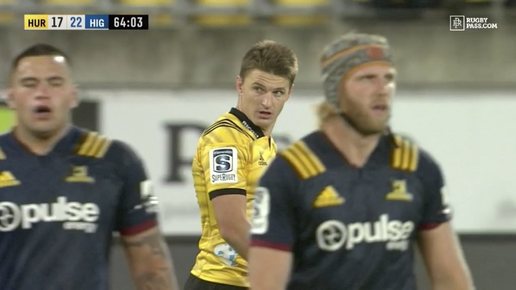 CAPITULATION: Beauden Barrett with his first vintage howler of 2019, gifting the Highlanders easy try