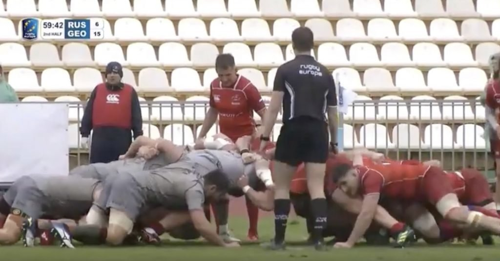 WATCH: The Georgian scrum has taken another victim. This time it's Russia.