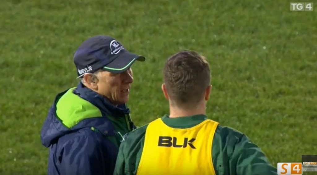 FOOTAGE: Audio captures the advice Ireland flyhalf receives from his coach about wind conditions