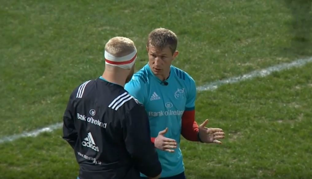 MIC'D UP: Slimmed down ex-Ireland hooker Jerry Flannery gives some scrummaging advice to a young prop
