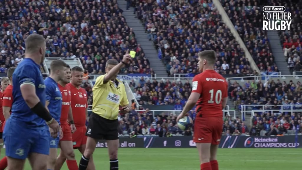WATCH: The moment Owen Farrell almost lost it when he thought he had been sin binned