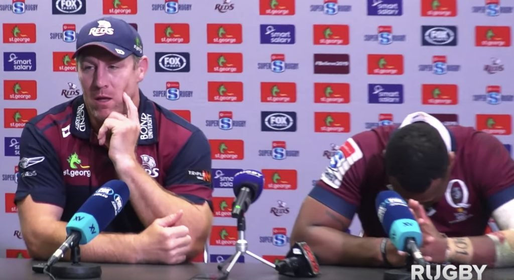 WATCH: Brad Thorn and Samu Kerevi visibly shaken after yet another loss for the Reds