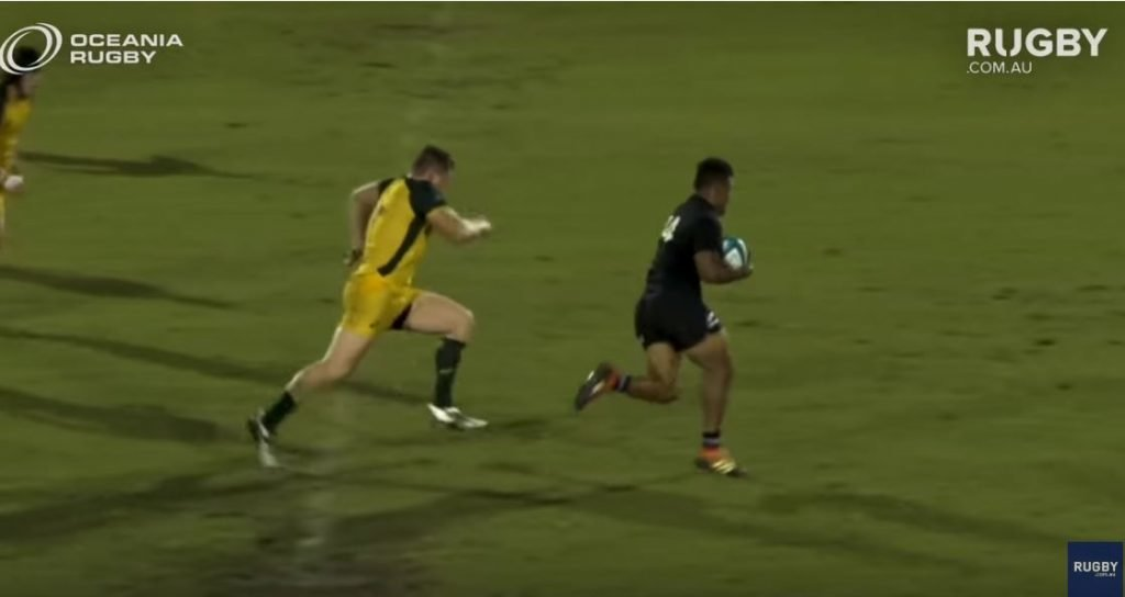 FOOTAGE: Phenomenal tackle on giant NZ U20 wing shows why you never give up on a rugby field