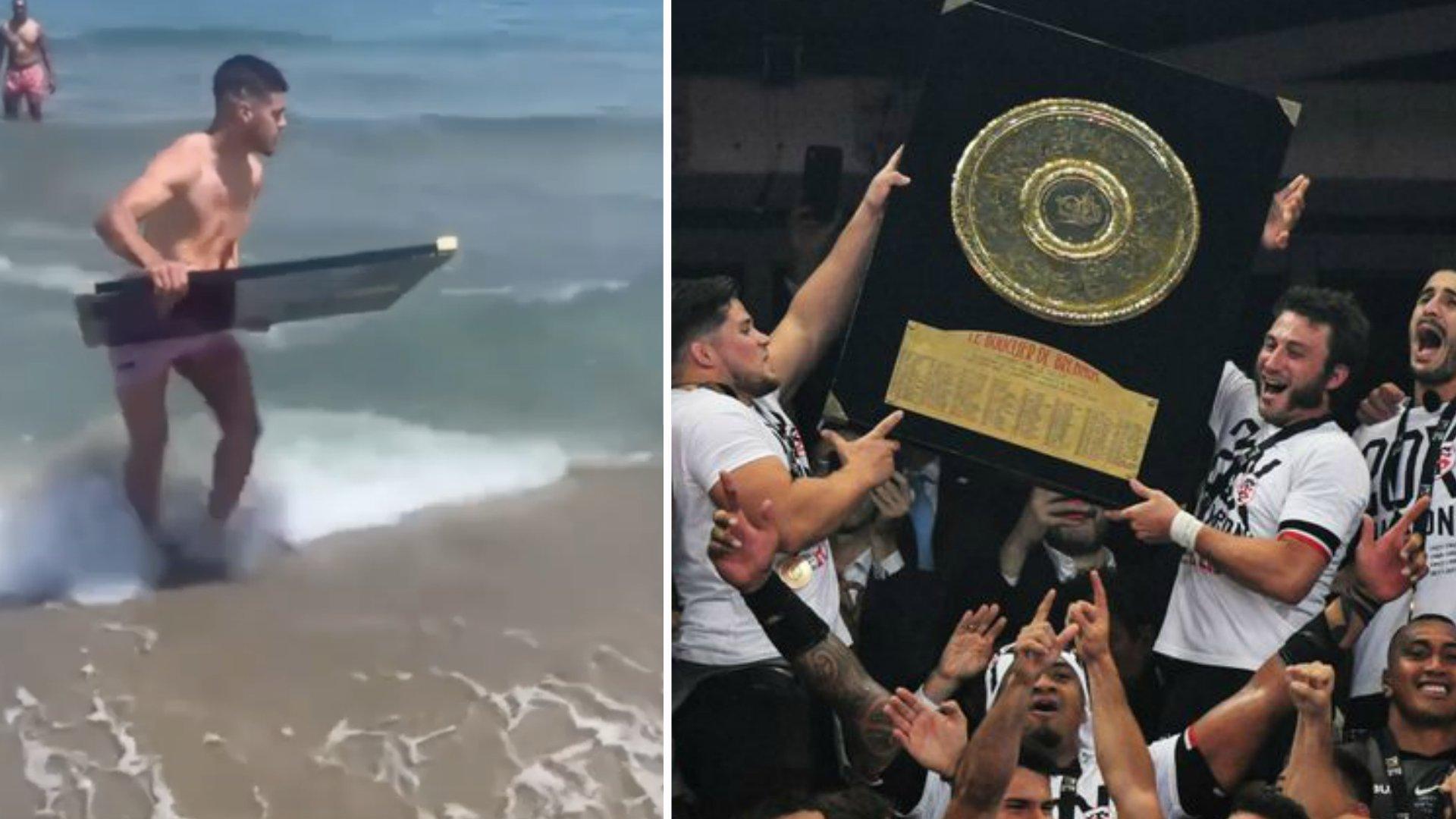 Bizarre scenes as French international is filmed surfing the Top 14 trophy