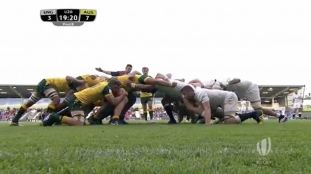 England and Australia Under 20's exchange one of the most brutal scrum battles we've ever seen