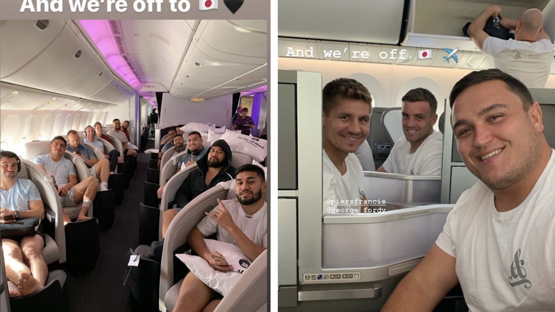England and New Zealand leave for Japan - All the footage and videos