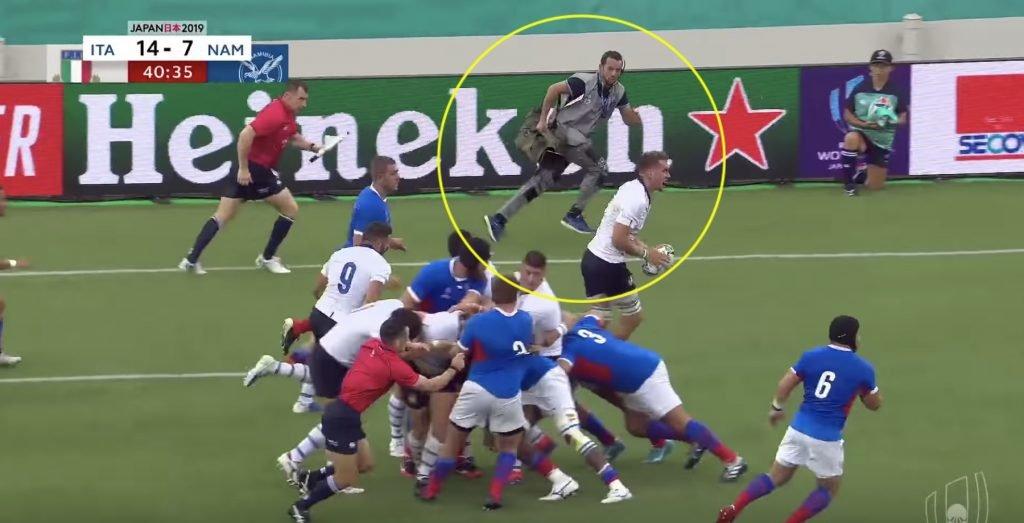 Cameraman has everyone talking in Italy vs Namibia match