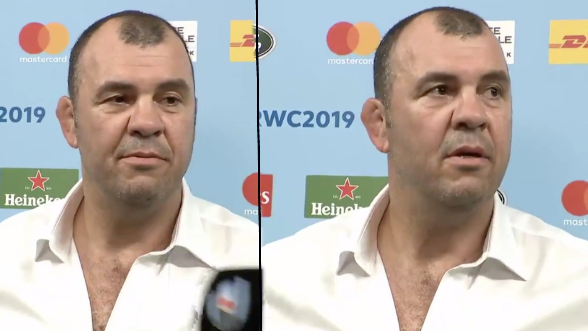 Michael Cheika clearly seething in awkward post-match interview