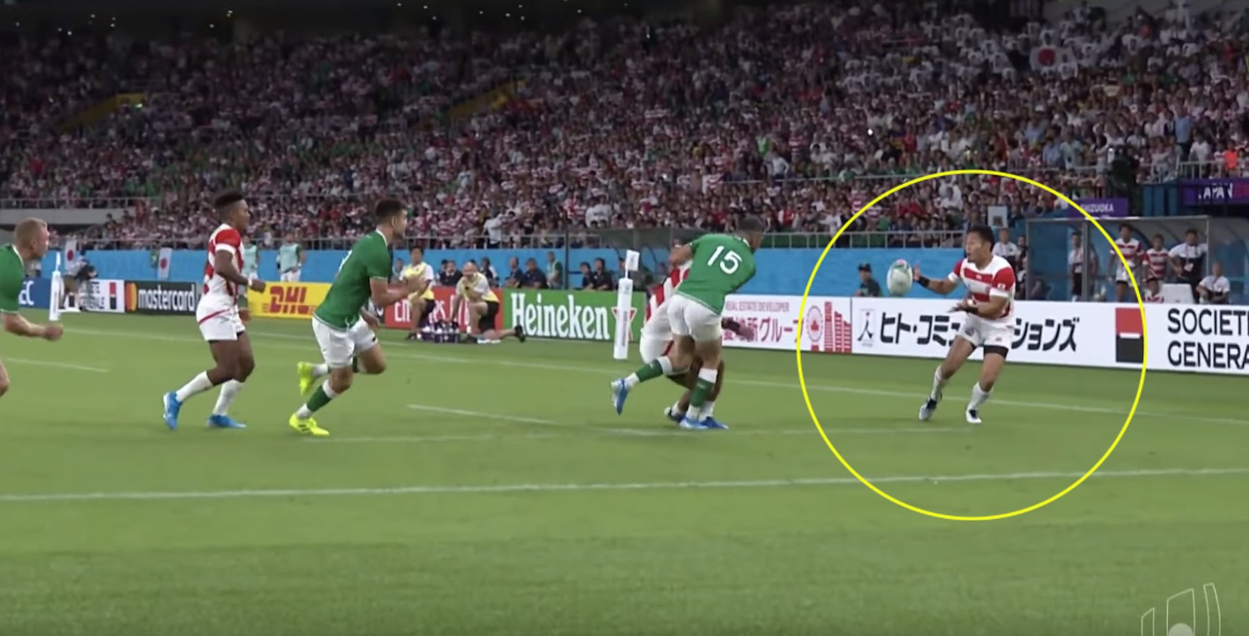 Watch all the highlights of Japan's landmark victory over Ireland
