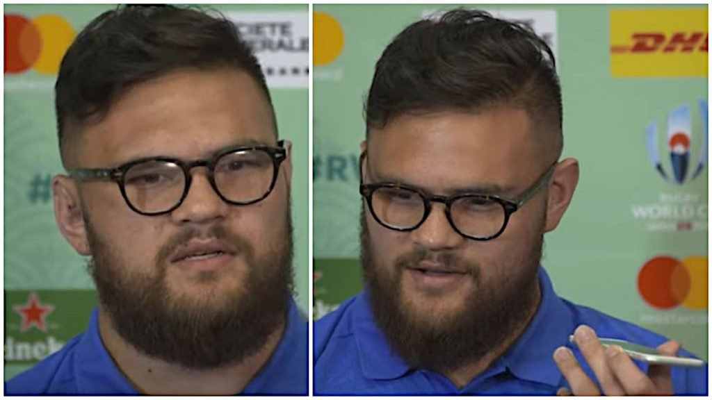 All Blacks prop answers journalist's phone in press conference