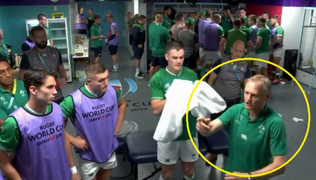 FOOTAGE: Joe Schmidt looked pretty angry in the changing room at halftime